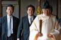 Japanese PM Shinzo Abe (centre) at the Yasukuni shrine in Tokyo in December 2013