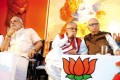 <b>Eye to eye?</b> Modi, Murli Manohar Joshi and L.K. Advani at a BJP meeting