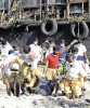 RSS volunteers during rescue operations after the 2004 tsunami, in Nagapattinam, Tamil Nadu