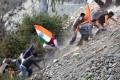 <b>Steep climb</b> Sangh parivar activists during a protest in J&K