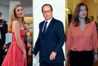 French President Francois Hollande, centre; present girlfriend actress Julie Gayet at left, Tri  erweiler at right