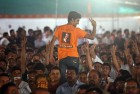 <b>Saffron surge</b> Crowds during a BJP rally in Mumbai