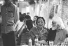 <b>How's the food</b> Samovar owner Usha Khanna with M.F. Husain at Samovar in the early 1990s