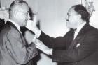 Gen Ayub Khan gives US president Lyndon Johnson a fond 'Pathan style slap' on a visit stateside