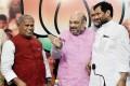 <b>Ally cats</b> BJP chief Amit Shah with HAM(S) chief Manjhi and LJP chief Paswan