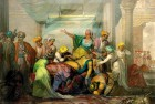 A painting shows a dead Tipu Sultan's family grieving with his body