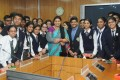 <b>The Smriti Chapter</b> The Union HRD minister with students in Delhi