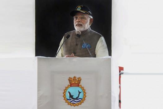 PM Modi at the commissioning of Scorpene Class Submarine INS Kalvari at the Naval Dockyard in Mumbai.