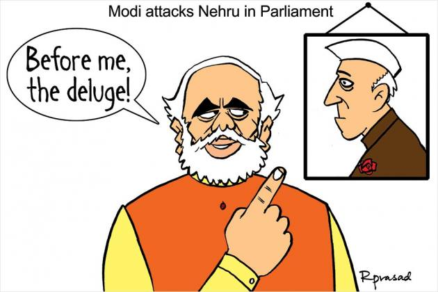 Nehru & Modi Cartoon @OutlookIndia