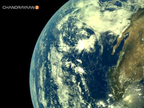 Earth as viewed by Chandrayaan-2 LI4 Camera on August 3, 2019 17:29 UT