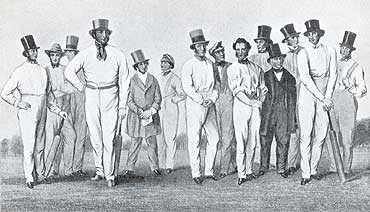 William Clarke and his 1846 All England Eleven. Clarke is seventh and George Parr, who take over from him as captain, second from left