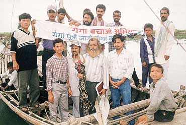 A devotee strives to save the Ganga from the garbage pit it is today