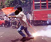 A shiv sainik on the rampage in Bombay