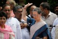Led By Sonia, Congress MPs Sit on Dharna in Parliament Complex
